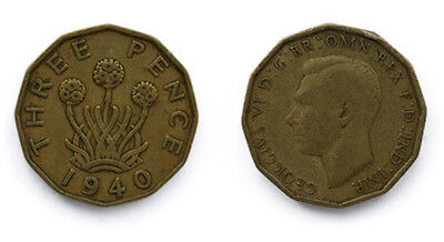 Great Britain Coins 1940 Threepenny bit / three pence / 3p / Circulated