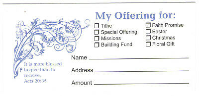 100 Bill Size TITHE / OFFERING ENVELOPES Church ACTS 20:35 Bible Scripture