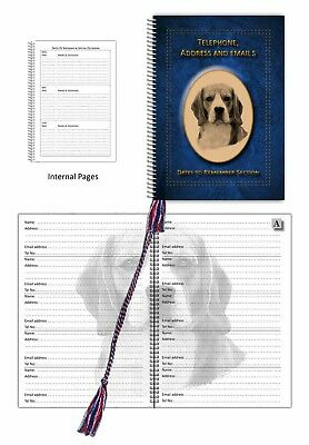 Beagle Dog A5 Address, Tel: Book with Dates section choice 3 colours Gift