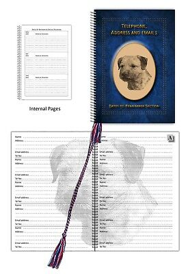 Border Terrier Dog A5 Address, Tel Book with Dates section choice 3 colours Gift