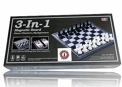 Magnetic 3 in 1 CHESS CHECKERS BACKGAMMON 36 cm Set - Game Gift