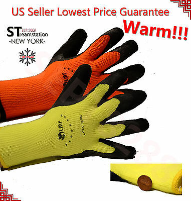 Warm Safety Snow Winter Insulatated Double Lining Rubber Coated Work Gloves