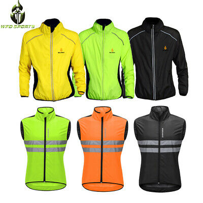 Men Performance Cycling Jacket Wind Stopper Winter Running Hi viz Coat Off White