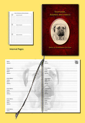 Bullmastiff Dog A5 Address, Tel Book with Dates section choice of 3 colours Gift