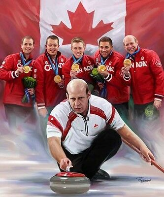 Canada Curling : giclee print on canvas poster painting for autograph  B-0242