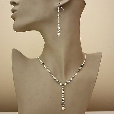 Silver wedding bridesmaid cream ivory pearls necklace long earrings party set