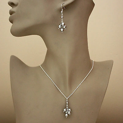 Silver wedding cluster pearls necklace pendant earrings jewellery set light grey