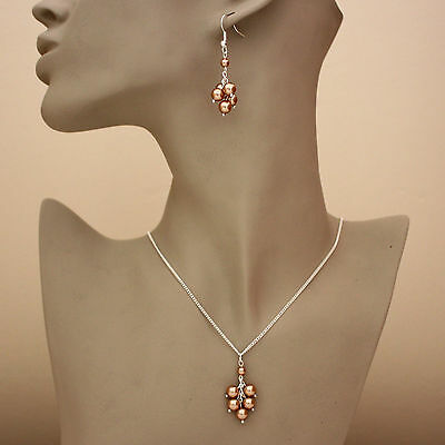 Silver wedding bridesmaid rose gold pearl necklace earrings jewellery bridal set