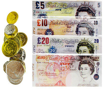 Childrens Kids Play Fake Pretend Money Role Shops Cash £ Pound Notes Coins