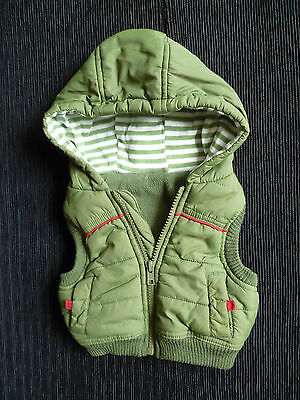 Baby clothes BOY newborn 0-1m green George gilet sleeveless quilted jacket hood