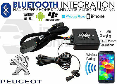 Peugeot 407 2005 Bluetooth music streaming handsfree calls AUX iPhone adapter