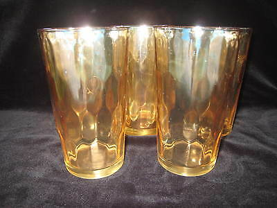 """5 Vintage Amber irridescent Glass Tumblers 5 """" Hex Optic Jeannette Peach Drink"""