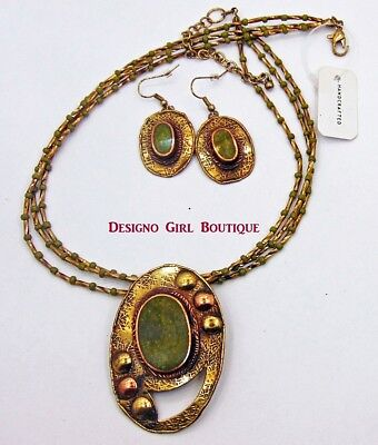 Metal Bead Necklace & Earrings Set Antique Gold-tone Brass Handcrafted in India
