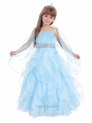 New Flower Girl Blue Princess Dress Pageant Wedding Birthday Graduation Party
