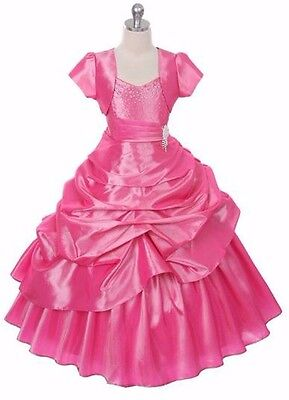 New Flower Girls Pink Princess Dress Pageant Birthday Wedding Graduation Formal