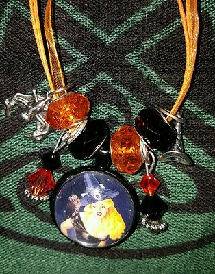 Pin Up Girl Witch Halloween Goth Cameo Necklace