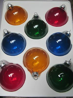 VINTAGE LOT OF 8 PYRAMID RAUCH UNSILVERED GLASS BALL CHRISTMAS TREE ORNAMENTS