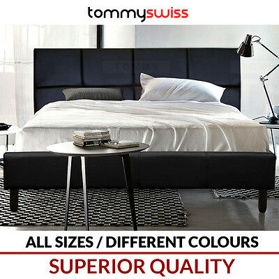 TOMMY SWISS: PREMIUM King Queen & Double PU Leather Bed Frame Black White Wood