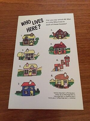 Mr Men - Who Lives Here? Themed Postcard - NEW