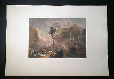 Death Of Nelson. Orig. antiker Stahlstich 1860 J. B. Allen JMW Turner 5v5   TOP