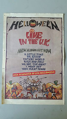 """Helloween """"Live In The UK"""" 1989 SOUNDS Trade Press Advert Poster Size"""