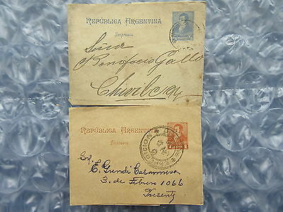 2 Old C.1900 Republica Argentina Used Postal Wrappers