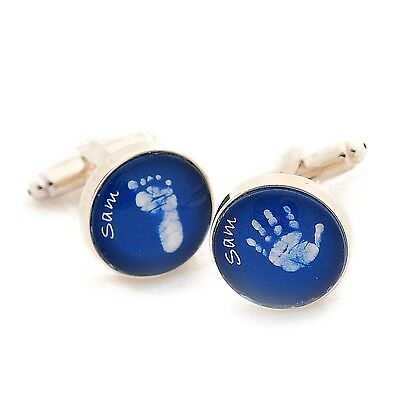 Glass Baby Hand or Foot Print Cufflinks - Personalised 1st Father's Day or