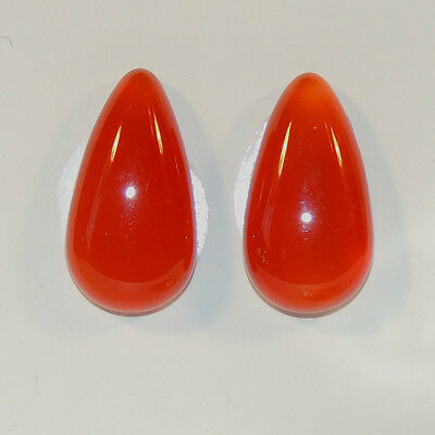 Carnelian Cabochons 21x11mm Tear Drop Set of 2 with 4.5-5.5mm Dome (6196a)