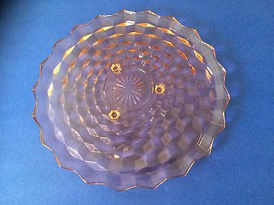 """Rare Pink American Depression Glass - Cubist 3 Footed 12.5"""" Cake Plate Platter"""