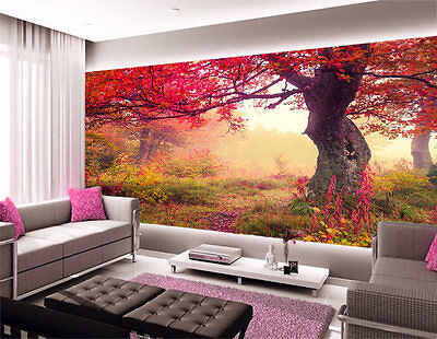 3D Fairy  Red Leaves  Tree Full Wall Mural Photo Wallpaper Print Paper Home Deco