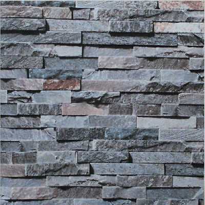 3D Brick STONE Slate Grey Project Wallpaper Cafe Restaurant Shop Wall Decoration