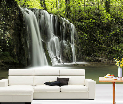 3D Nature Forest Waterfall Full Wall Mural Photo Wallpaper Print Paper Home Deco