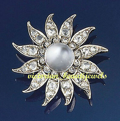 Victorian Inspired 2.30 Ctw Rose Cut Diamond & Pearl Broach (FREE SHIPPING)