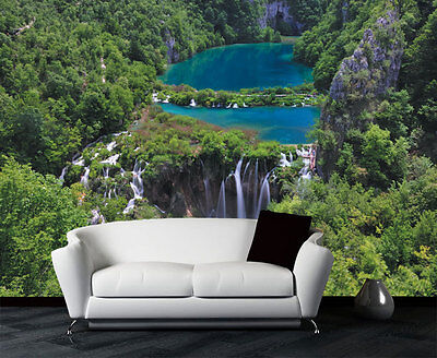 3D Blue Lake Waterfall Full Wall Mural Photo Wallpaper Print Paper Home Deco Kid
