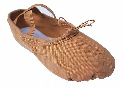 Ballet College Girls Canvas Ballet Shoes (Pink And Brown)