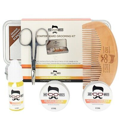 Mo Bro's Grooming Tin Gift Set - 6 Pcs Inc Balm, Wax, Oil, Comb -Orange Bergamot