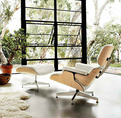 Reproduct Eames Lounge Chair & Ottoman - White | Contemporary Mid Century Modern