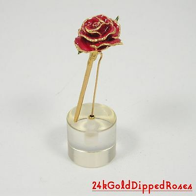 """3"""" 24k Gold Dipped Red Real Rose in Stand (Free Valentine's Day Gift Box)"""