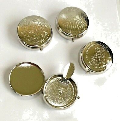 Round  Pocket Ashtray Brushed Metal - Designs Available