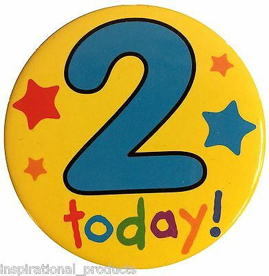 Let's Party I AM 2 Two Happy 2nd Birthday Badge Boy Girl Yellow 55mm Diameter
