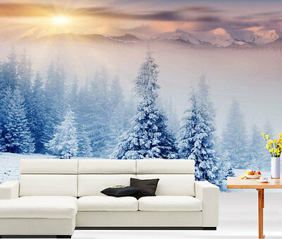 3D Chrismas Trees Mountain Full Wall Mural Photo Wallpaper Print Paper Home Deco