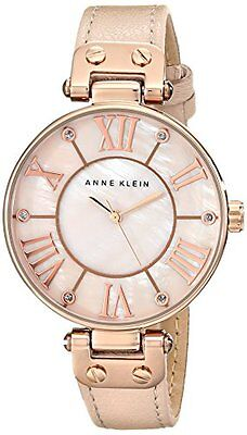 Anne Klein Women's 10/9918RGLP Rose Gold-Tone Watch with Leather Band - NEW