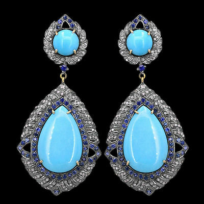 Turquoise Dangle Earrings Pave Diamond 925 Sterling Silver Fine Jewelry
