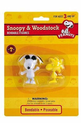 "Peanuts 3"" Snoopy 2"" Woodstock Joe Cool Bendable Poseable Figures Schulz"
