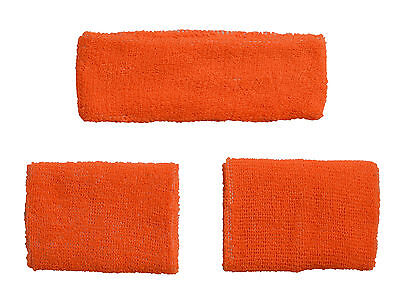 Orange Set Headband 2 Wrist Sweatbands Athletic Sports Wristbands Gym Running Uk