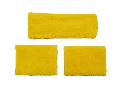 Yellow Set Headband 2 Wrist Sweatbands Athletic Sports Wristbands Gym Running Uk
