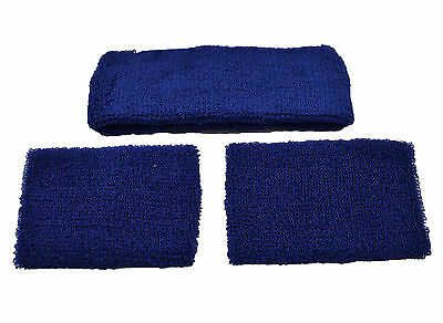 Navy Blue Set Headband 2 Wrist Sweatbands Sports Wristbands Gym Sport Running Uk