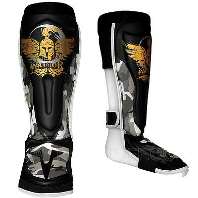 Warrior Shin Guards Muay Thai Boxing Black Brown Camouflage Microfiber PU