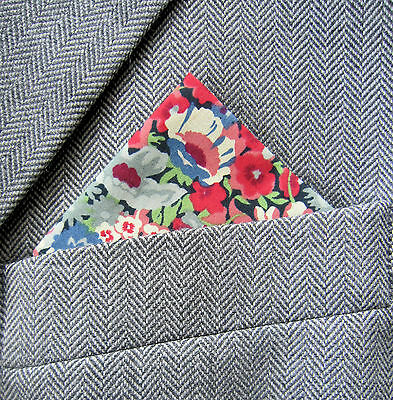 SUPERNOVA Blue & Red Floral Liberty Fabric Pocket Square Handkerchief Scooter