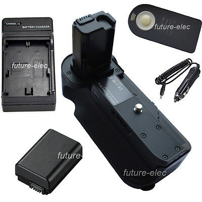 Vertical Battery Hand Grip Holder For Sony Alpha A7+Remote+ NP-FW50+ Car Charger